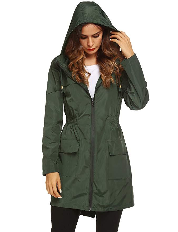 36eadb8bf LOMON Women Waterproof Lightweight Rain Jacket Active Outdoor Hooded  Raincoat
