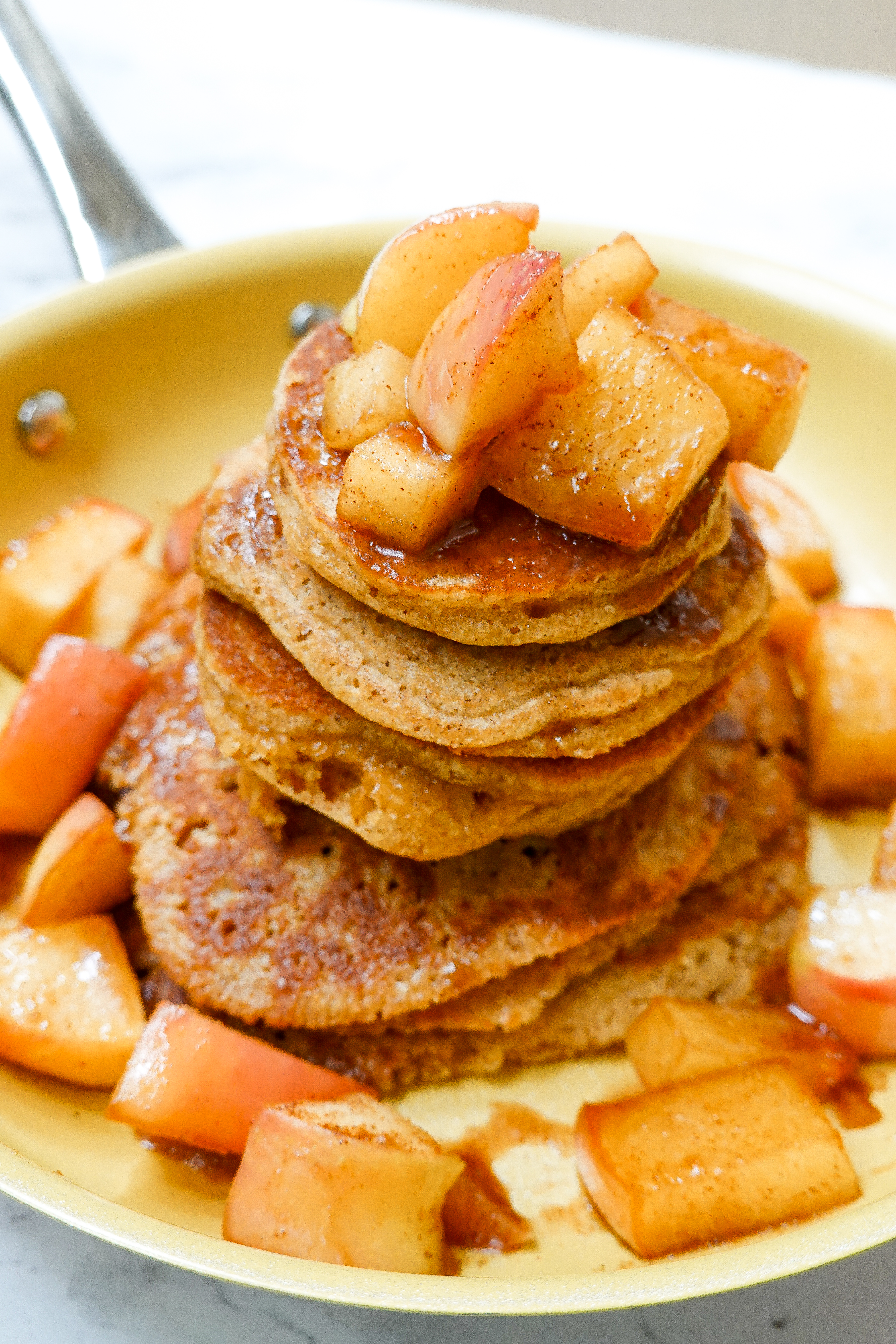 Cinnamon Apple Pancakes in my Tuxton Home skillets